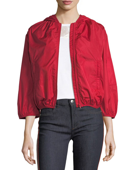 Hooded Taffeta Tech Bomber Jacket