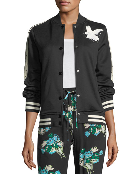Jersey Bomber Jacket w/ Bird Embroidery