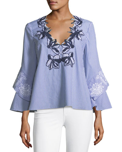 Gail Striped V-Neck Blouse with Engineered Lace Embroidery