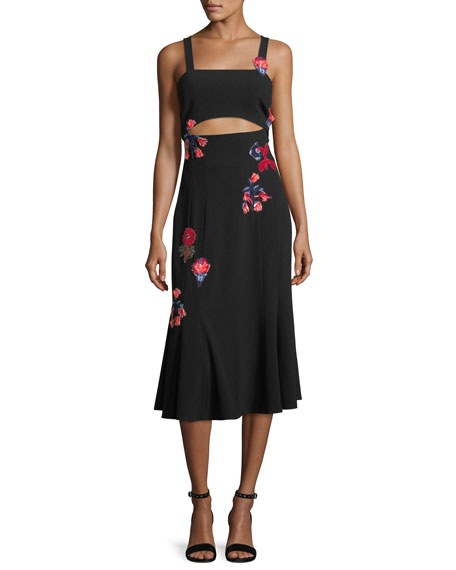 TANYA TAYLOR DESIGNS Olivia Sleeveless Floral-Embroidered Crepe Midi Dress in Black