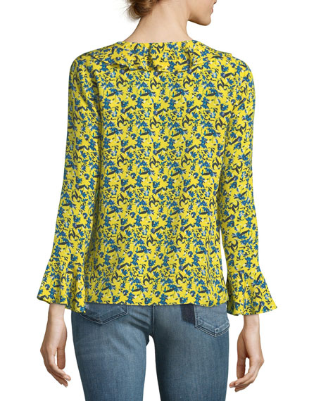 Staci Tulip-Print Silk V-Neck Long-Sleeve Blouse