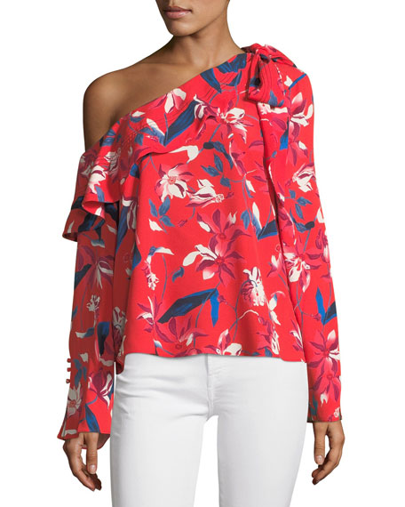Jules One-Shoulder Long-Sleeve Tulip-Print Top