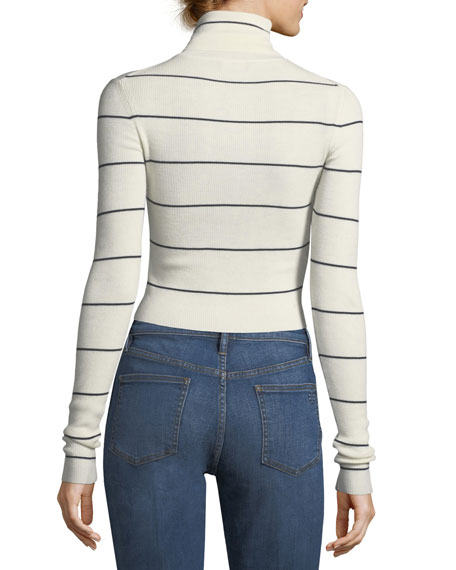 Striped Long-Sleeve Cropped Refine Turtleneck Sweater