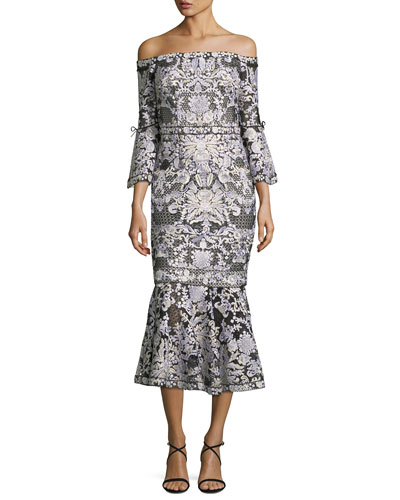Off-Shoulder Lace Bell-Sleeve Midi Cocktail Dress