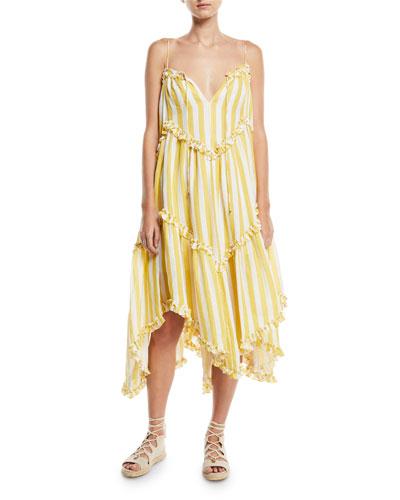 Lumino Floating Stripe Linen Coverup Dress