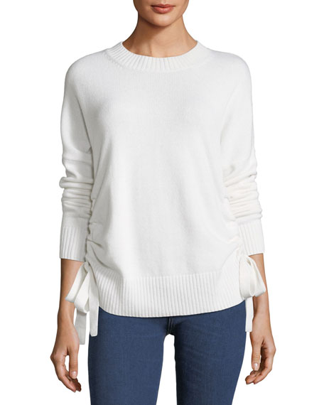 Crewneck Cashmere Sweater with Ruched Sides