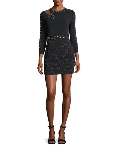 Taraji Long-Sleeve Studded Fitted Mini Dress