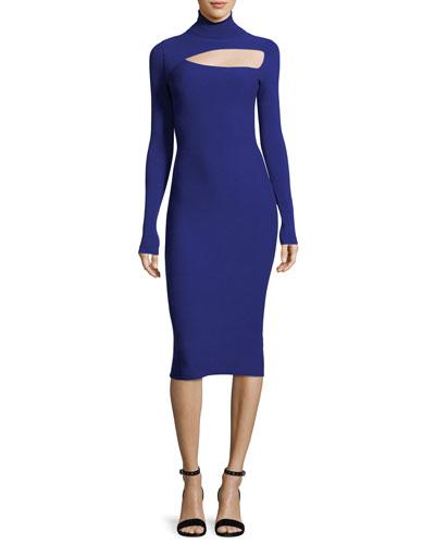 Montero Turtleneck Cutout Long-Sleeve Fitted Midi Dress