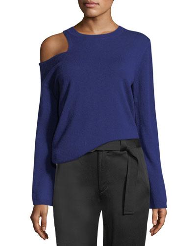 Hamilton Cutout-Shoulder Wool-Cashmere Sweater