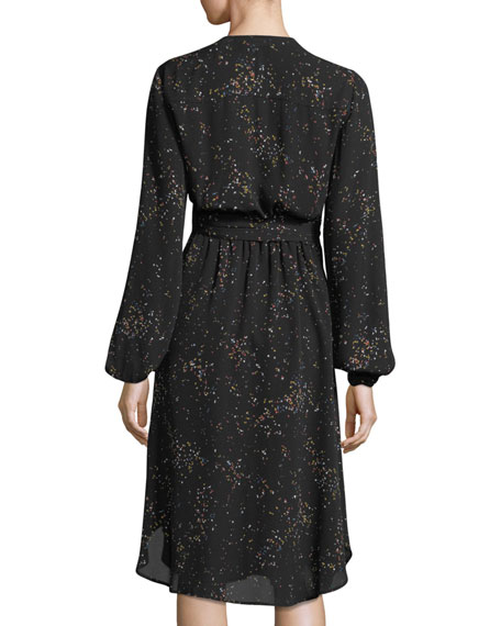 Samantha Deep-V Long-Sleeve Silk Midi Dress