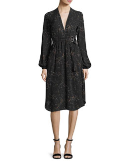 Samantha Deep-V Long-Sleeve Silk Midi Dress