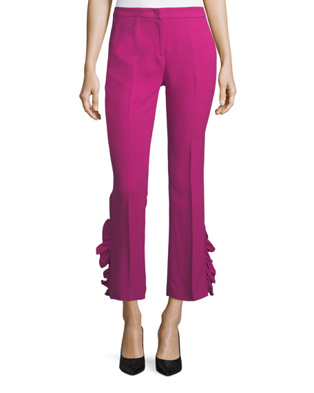 Straight-Leg Ankle Pants with Side Ruffles