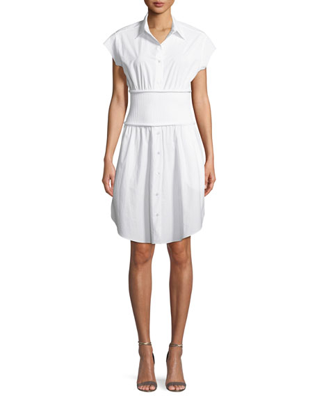 Washed Cotton Poplin Shirtdress with Rib Combo