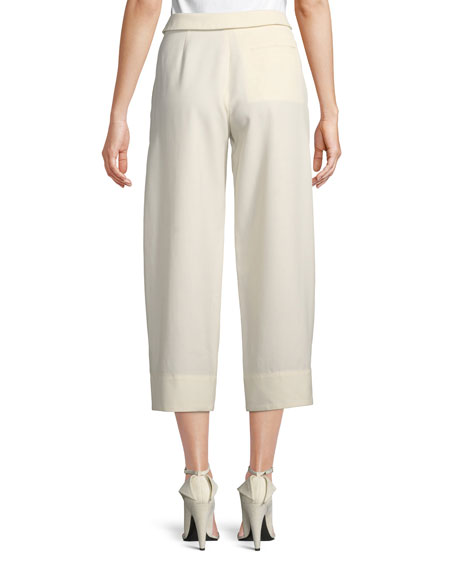 High-Waist Wide-Leg Ankle Wool Trousers