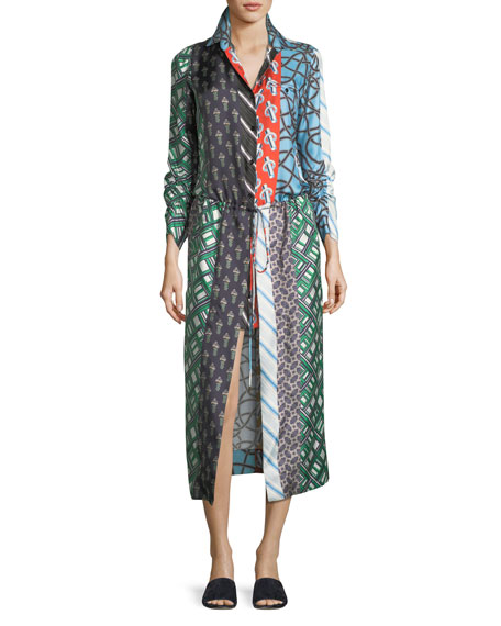 Mixed-Print Long-Sleeve Silk High-Low Dress