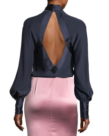 Harper Tie-Neck Open-Back Silk Satin Blouse