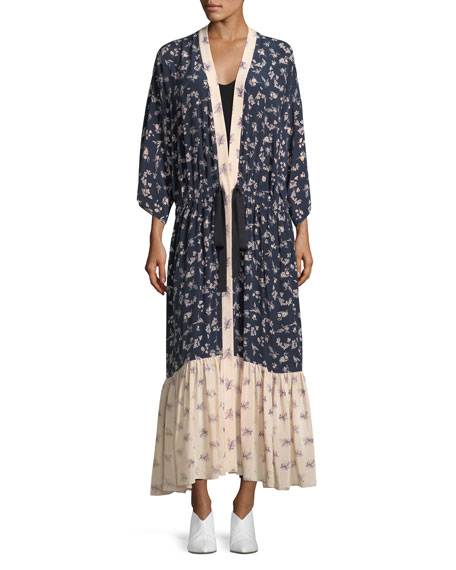 Mariana Floral-Print Silk Cardigan Duster