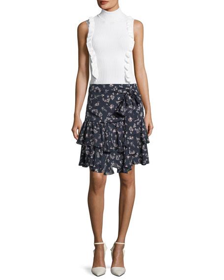 Carson Floral-Print Silk Flounce Skirt