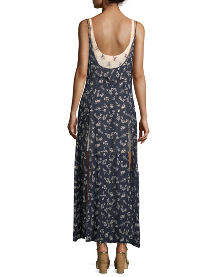 Jocelyn Sleeveless Floral-Print Layered Silk Dress