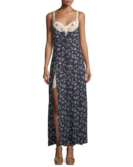 Jocelyn Sleeveless Floral-Print Layered Silk Dress