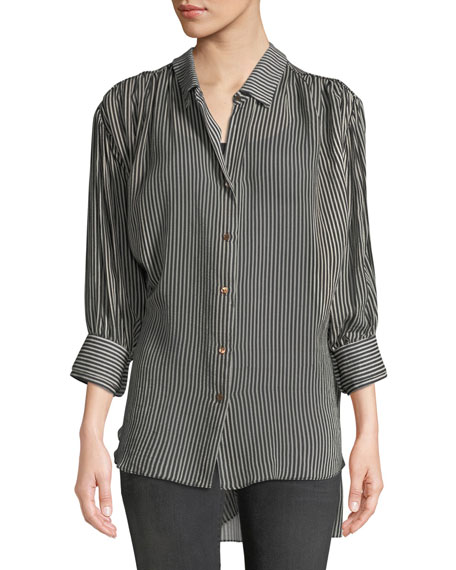 Ruched Button-Up Long-Sleeve Top