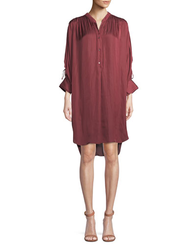 Ruched Oversized Shirt Dress