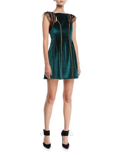 Frill-Shoulder Fit-and-Flare Velvet Mini Dress