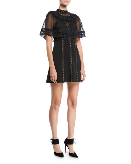 Trimmed Cape Overlay Mini Dress
