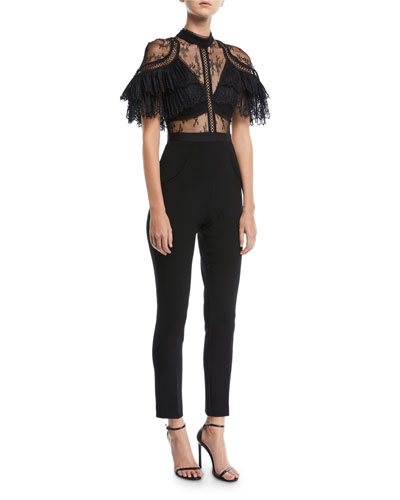 Fine Lace Paneled Slim-Leg Jumpsuit