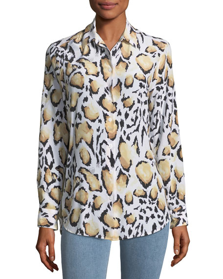 Cloud Leopard-Print Button-Down Essential Shirt