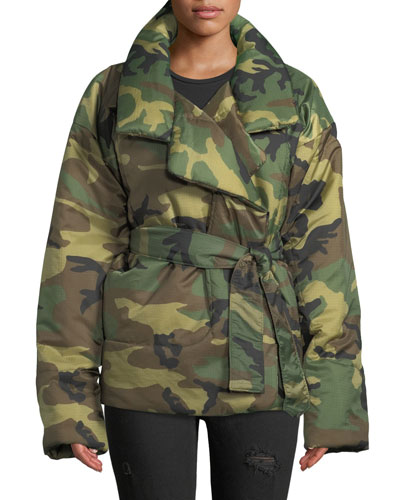 Sleeping Bag Camo-Print Short Coat