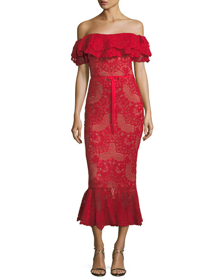 Off-The-Shoulder Ruffled Corded Lace Midi Dress in Red from District 5 Boutique