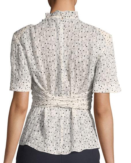 Short-Sleeve Tie-Waist Star-Print Blouse