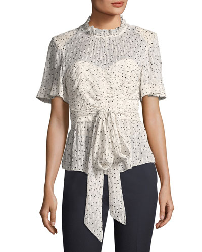 Short-Sleeve Tie-Waist Star-Print Blouse