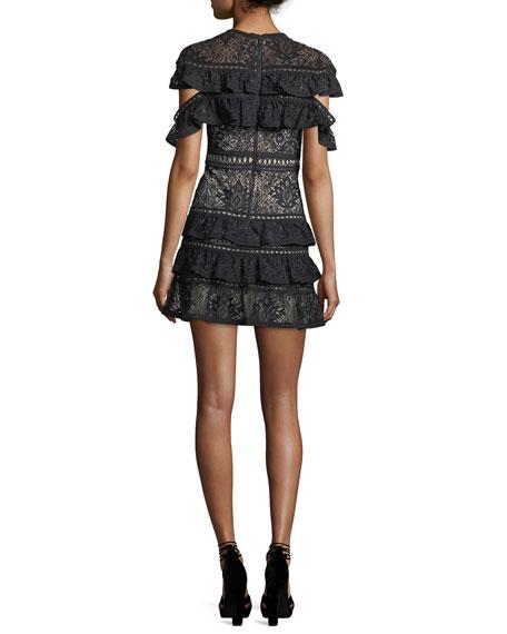 Jolie Tiered Ruffled Lace Mini Dress