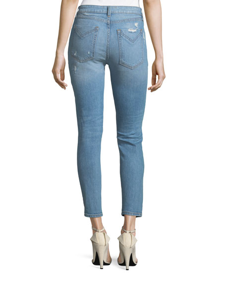 Devi Distressed Mid-Rise Skinny Ankle Jeans