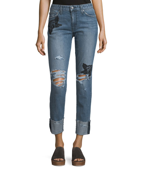 Image 1 of 1: The Smith Distressed Straight-Leg Ankle Jeans