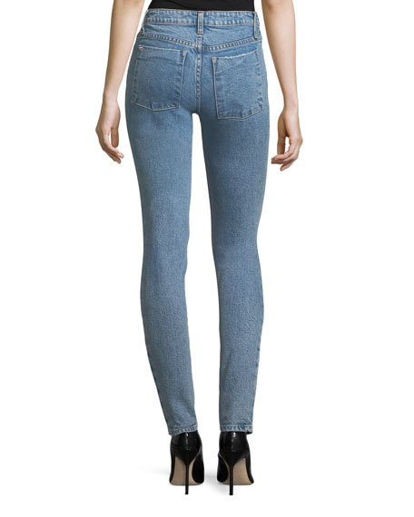 Mid-Rise Skinny Jeans with Embroidery