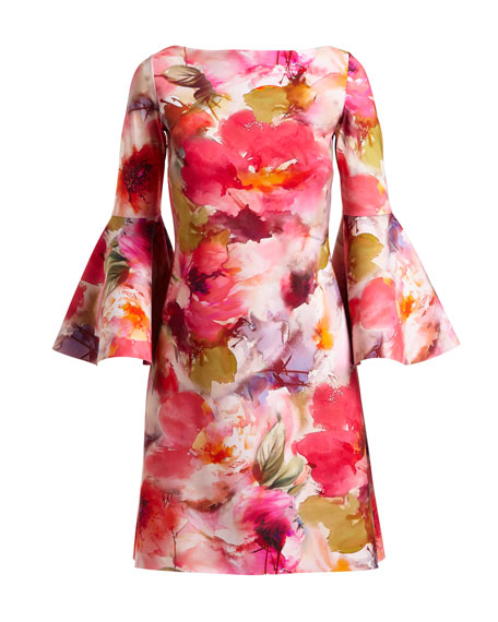 Natalia Bell-Sleeve Floral-Print Dress