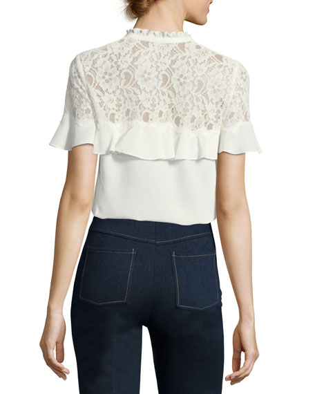 Short-Sleeve Silk Top with Lace