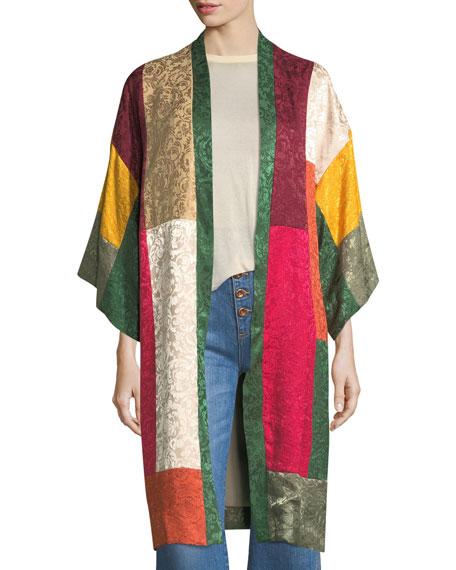 Lupe Long Patchwork Jacquard Kimono