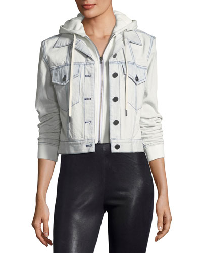 Chloe Cropped Denim Jacket with Hood