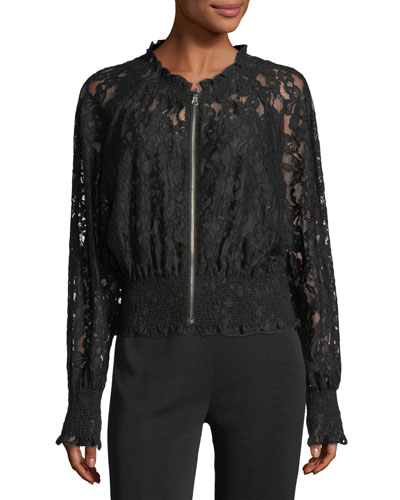 Long-Sleeve Zip-Front Lace Bomber Jacket