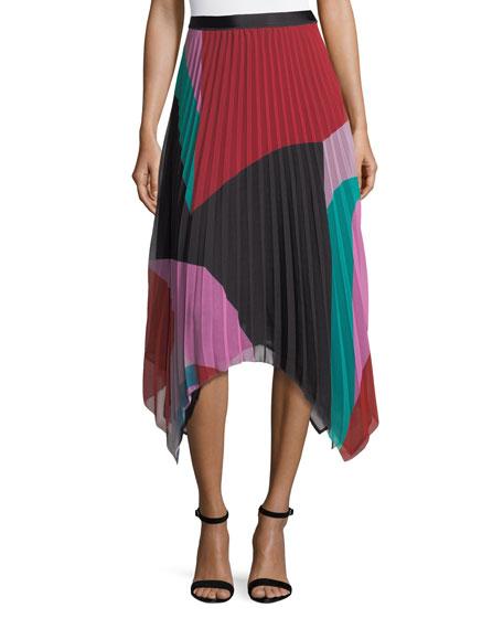 Dashiella Colorblocked Pleated Asymmetric Midi Skirt