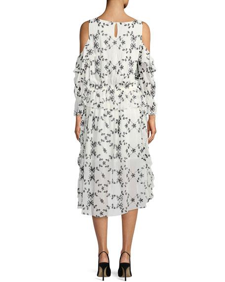 Alpheus Floral-Eyelet Cold-Shoulder Ruffled Silk Dress