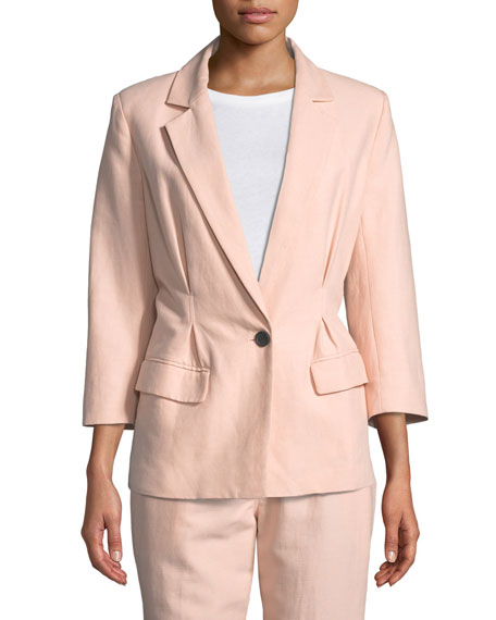 Lian One-Button Cotton-Linen Blazer Jacket