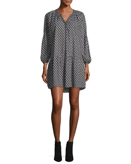 Hagi Long-Sleeve Button-Front Printed Short Dress