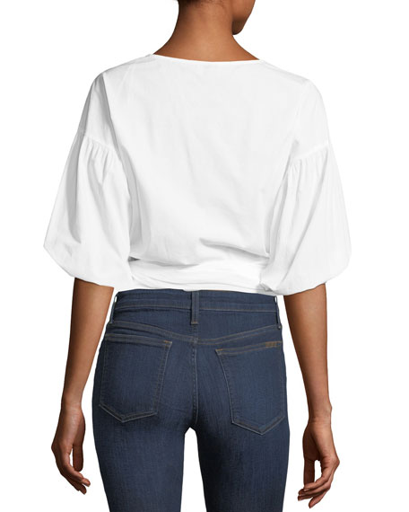 Hausu Half-Sleeve Poplin Wrap Top