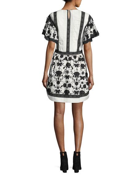 Gaetena Crewneck Flutter-Sleeve Short Dress