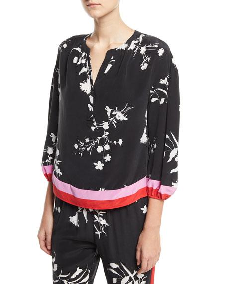 Eliga Floral-Print Silk Blouse